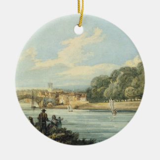 The New Walk, York, c.1798 (pencil and w/c on pape Round Ceramic Decoration