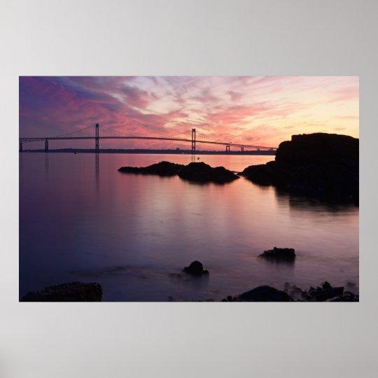 The Newport (Pell) Bridge at Twilight Poster