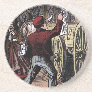 """""""The Newspaper Boy"""" Vintage Illustration Beverage Coasters"""