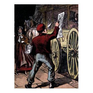 The Newspaper Boy Vintage Illustration Post Cards