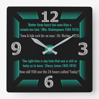 The Next 24 Hours are Yours (Green, Black, Gray) Clocks