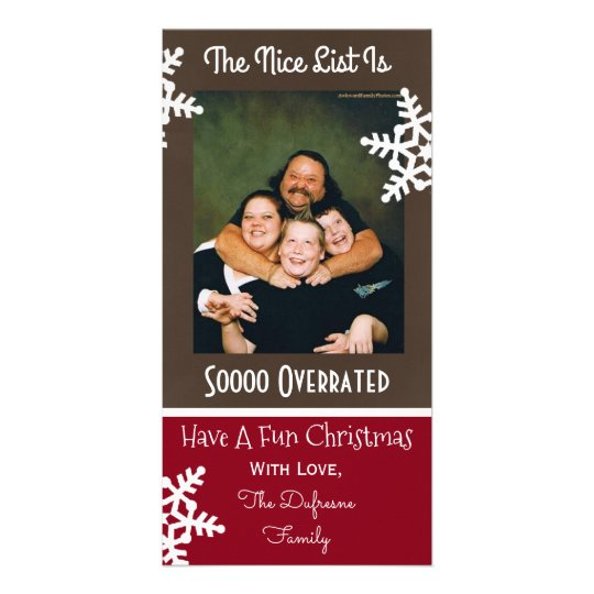 """The Nice List Is So Overrated"" Christmas Personalized Photo Card"