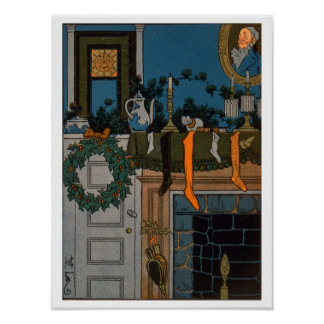 The Night Before Christmas by Denlow, 1903 (colour Poster