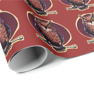 the night owl top of the stick cartoon wrapping paper