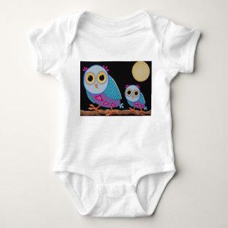 The night patrol, cute owls on a branch by Soozie Baby Bodysuit