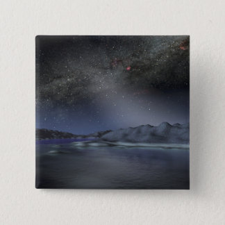 The night sky from a hypothetical alien planet 2 15 cm square badge