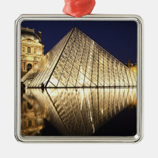 The night view of the glass Pyramid of Musee du Christmas Ornament