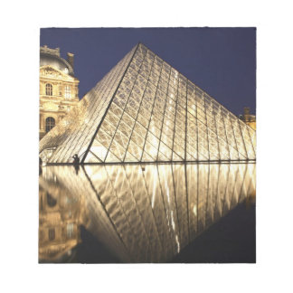 The night view of the glass Pyramid of Musee du Notepad