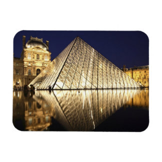 The night view of the glass Pyramid of Musee du Rectangular Photo Magnet