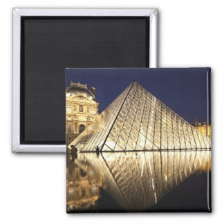 The night view of the glass Pyramid of Musee du Square Magnet