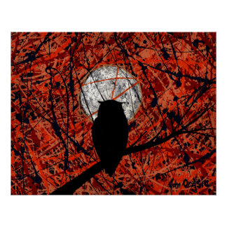 THE NIGHTLY VIGIL (owl / moon art) (large) ~ Poster