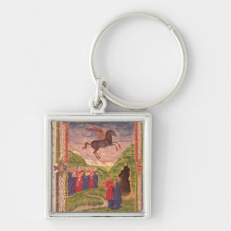 The nine Muses playing instruments Silver-Colored Square Key Ring