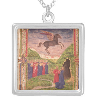 The nine Muses playing instruments Silver Plated Necklace