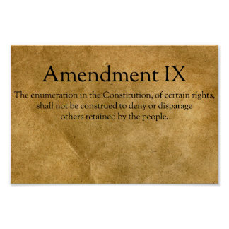 The Ninth Amendment to the U.S. Constitution Poster