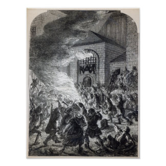 The 'No Popery' rioters burning the prison Poster