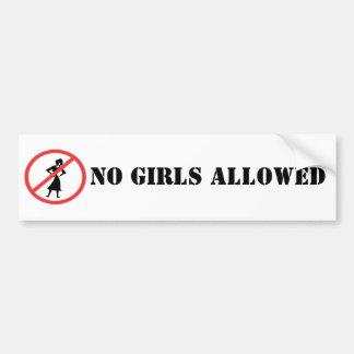 The no symbol pictogram No Girls Allowed Bumper Sticker