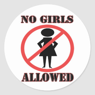 The no symbol pictogram No Girls Allowed Round Sticker