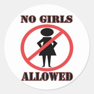 The no symbol pictogram No Girls Allowed Round Sticker