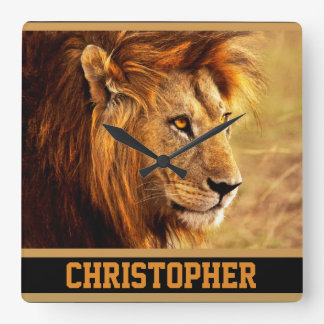 The Noble Lion Photograph Square Wall Clock