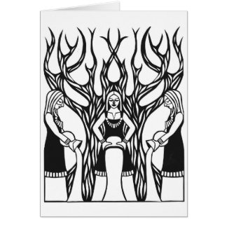 """The Norns"" papercut design by Jennifer Kuhns Card"