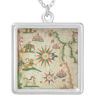 The North African Coast, from a nautical atlas Silver Plated Necklace