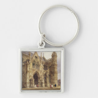 The North-West Porch of Salisbury Cathedral, 1832 Silver-Colored Square Key Ring