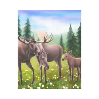 The Northern Moose Family Wrapped Canvas Canvas Print