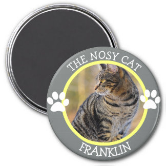 THE NOSY CAT: Humourous  Pawprints Photo Button 7.5 Cm Round Magnet