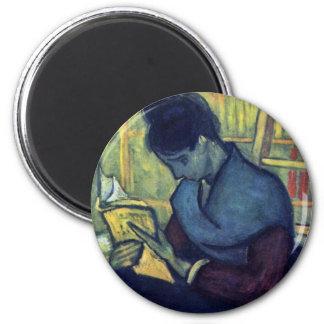 The Novel Reader By Vincent Van Gogh 6 Cm Round Magnet