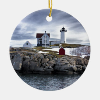 "The ""Nubble"" Cape Neddick lighthouse York, Maine Christmas Ornament"