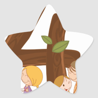 The number 4 star sticker