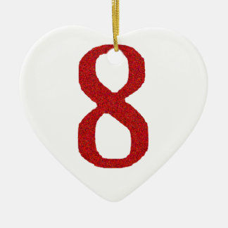 THE NUMBER 8 IN RED CERAMIC HEART DECORATION