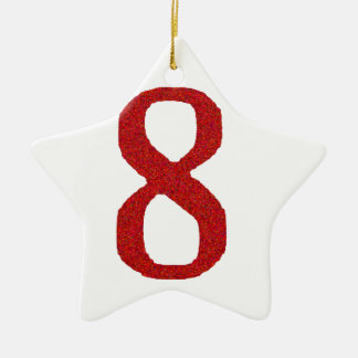 THE NUMBER 8 IN RED CERAMIC STAR DECORATION