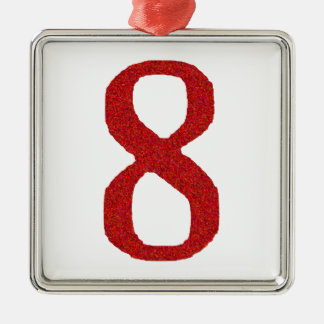 THE NUMBER 8 IN RED Silver-Colored SQUARE DECORATION