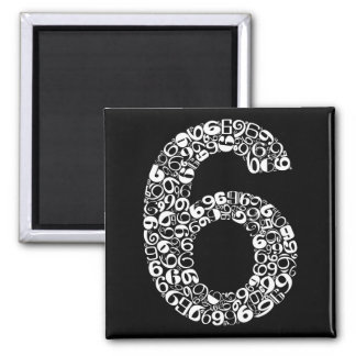 The Number Six Square Magnet
