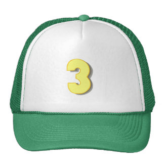 The number three in yellow on hats trucker hat