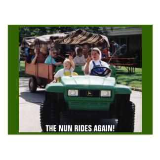 THE NUN RIDES AGAIN! POSTCARD