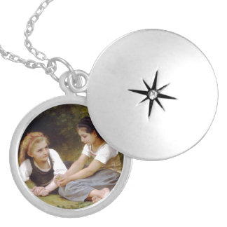 The Nut Gatherers by W.A. Bouguereau Silver Plated Necklace