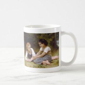 The Nut Gatherers, William-Adolphe Bouguereau Basic White Mug