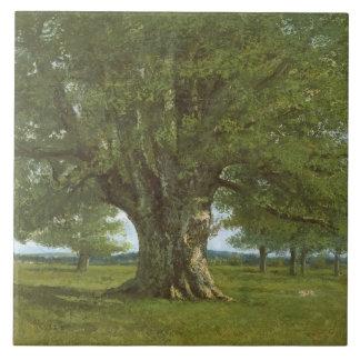 The Oak of Flagey, called Vercingetorix Large Square Tile
