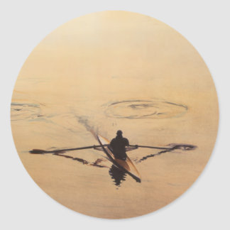 """""""The Oarsman"""" Kayaker Boat Watercolor Classic Round Sticker"""