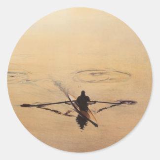 """The Oarsman"" Kayaker Boat Watercolor Round Sticker"