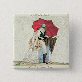 The Obliging Umbrella, plate 40 from 'Le Bon Genre 15 Cm Square Badge