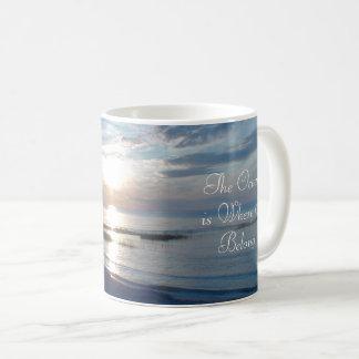 The Ocean is Where I Belong Quote, Coffee Mug