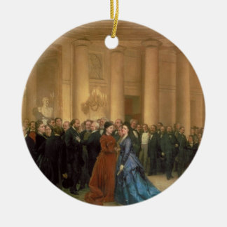 The Odeon Theatre, Paris, 1869 (oil on canvas) Christmas Ornament