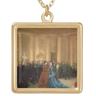 The Odeon Theatre, Paris, 1869 (oil on canvas) Gold Plated Necklace