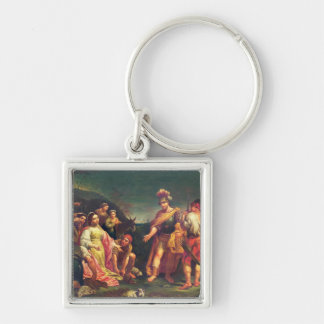 The Offering of Abigail before David Silver-Colored Square Key Ring