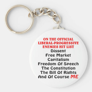 The Official Liberal-Progressive Enemies Hit List Basic Round Button Key Ring