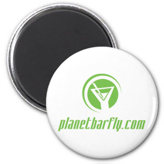 The official planetbarfly.com logo in green 6 cm round magnet