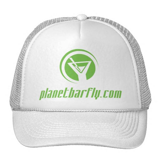 The official planetbarfly.com logo in green hat